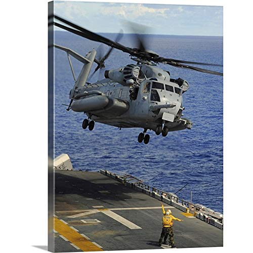GREATBIGCANVAS Gallery-Wrapped Canvas Entitled A CH 53E Sea Stallion Helicopter Takes Off from Amphibious Assault Ship USS Essex by Stocktrek Images 18