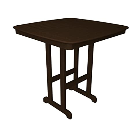 POLYWOOD Outdoor Furniture Nautical 44 Inch Bar Table, Mahogany Recycled  Plastic Materials