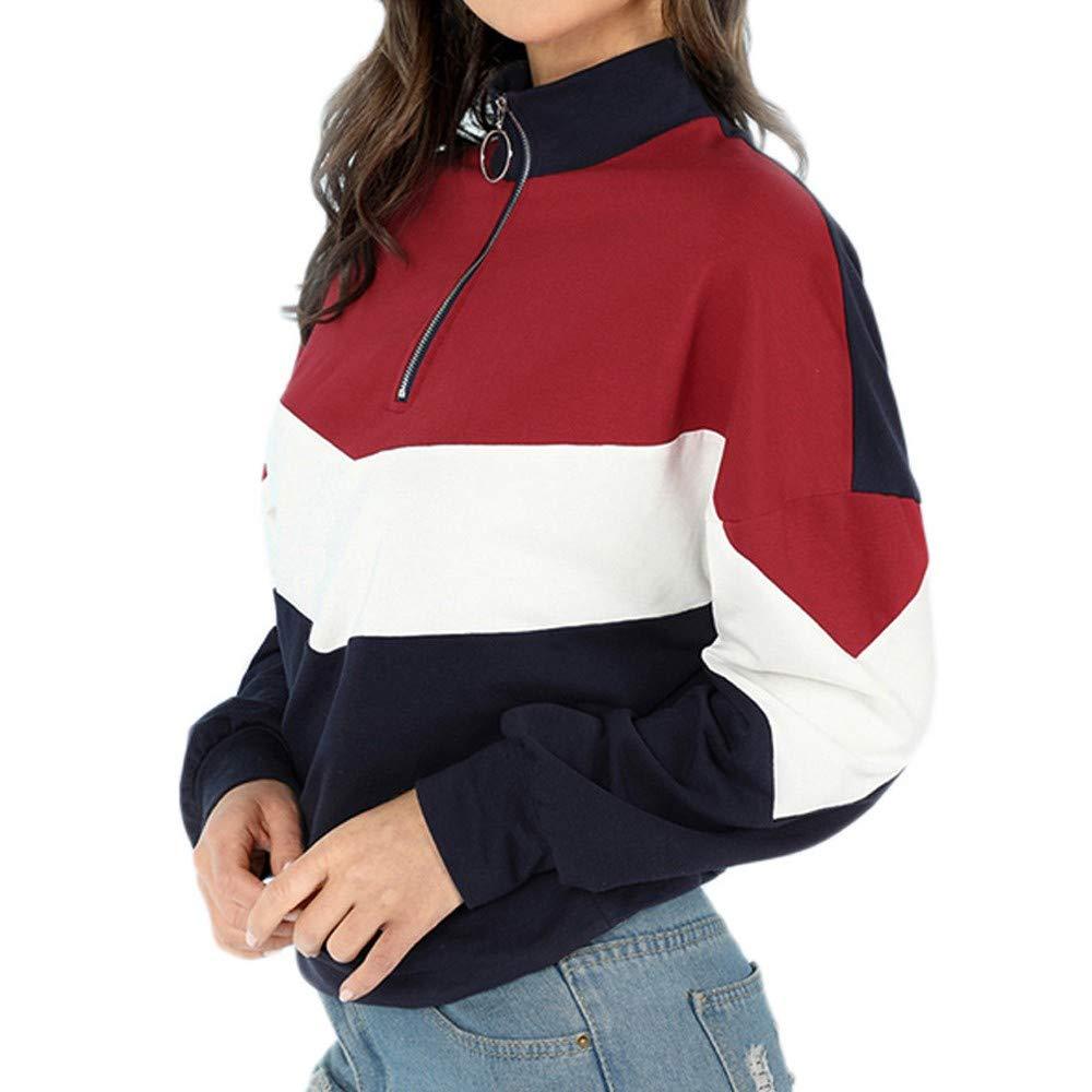 Clearance Sale! Caopixx Sweatshirt for Women Autumn Patchwork Zipper Pullover Shirt Jumper Outwears Soft