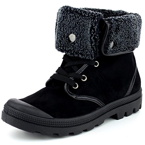Shoes Casual Booties Down (Refresh Footwear Women's Faux Shearling Fold Down Warm Winter Boot (7 B(M) US, Black))