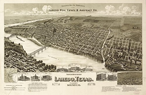 Map: 1892 Perspective of the city of Laredo, Texas, the Gateway to and from Mexico. Laredo's railway - Texas Laredo Stores In