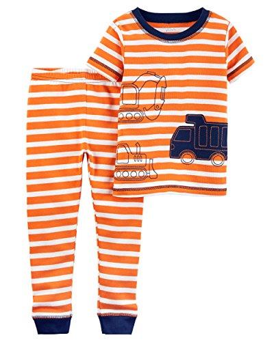 2 Piece Boys Carters (Carter's Baby Boys' Little Planet Organics 2-Piece Cotton Pajamas, Orange Stripe Truck, 18M)
