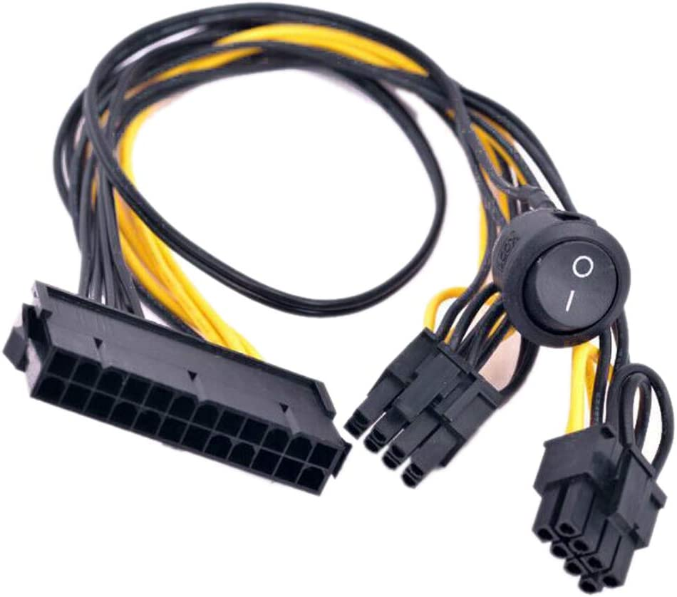 GinTai ATX 24 Pin to 2 Port PCIe 6+2 Pin 8-p 6Pin Power Cable + On Off Switch