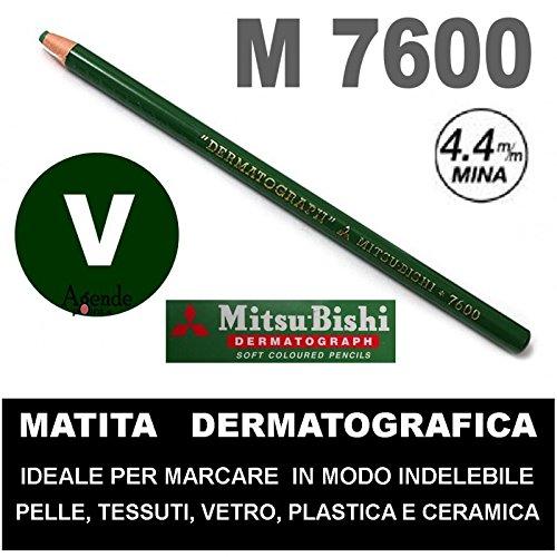 Matita dermatografica 7600 mitsubishi verde n 6 matita per pelle plastica metallo vetro agendepoint