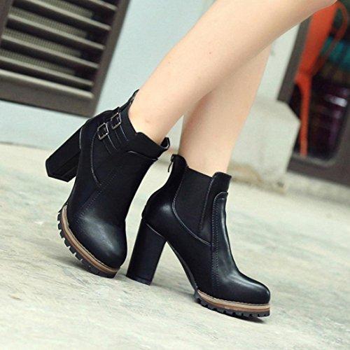 Zapatos Tacón LMMVP Otoño de Botines alto Zapatos invierno Moda Negro Martín Botas mujer Botas Mujer de mujer de tobillo cuadrado UEqcPdwZ
