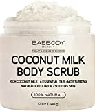 Baebody Coconut Milk Body Scrub: With Dead Sea Salt, Almond Oil, and Vitamin E. Natural Exfoliator, Moisturizer Promoting Radiant Skin 12(oz)