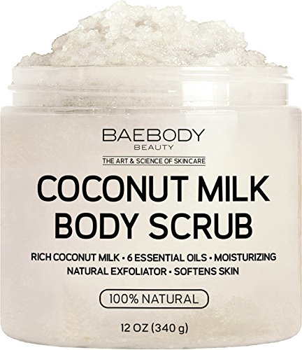 Baebody Coconut Milk Body Scrub: With Dead Sea Salt, Almond Oil, and Vitamin E. Natural Exfoliator, Moisturizer Promoting Radiant Skin 12 oz.