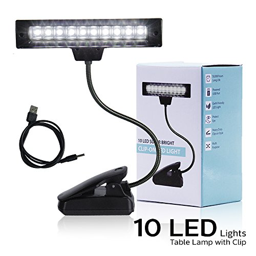 eTopLighting 10 LED Super Bright Lamp - Orchestra Music Stand Light Clip On Book Reading, Desk Travel Light APL1315