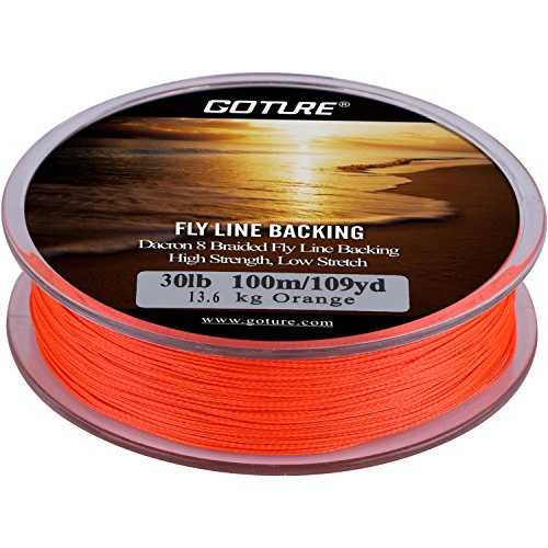 Goture 8 Strands Braided Dacron Fly Fishing Line Backing for Trout Bass Pike in the Saltwater Freshwater 30lb 109yd (30lb Orange)