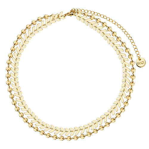 - Manerson Mother's Day Gift Double Layers Choker Necklace Jewelry Elegant Statement Necklace For Women Girls,Mother's Day Gifts Gold Tone (style2)