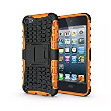 IPod Touch 5/6 Case, LUOLNH 2 in 1 Hybrid Armor Cover Tough Protective Hard Kickstand Phone Case for Apple iPod touch 5th/6th Generation(Orange)