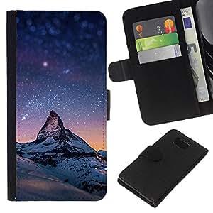 KLONGSHOP // Tirón de la caja Cartera de cuero con ranuras para tarjetas - Estrellada Montaña Monte Everest - Samsung ALPHA G850 //