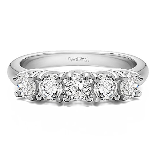18k White Gold Diamond 0.5 CT Five Stone Trellis Set Wedding Ring (Size 3 To 15 in 1/4 Size Interval)