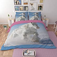 RuiHome 4-Piece Polyester Duvet Cover Set Queen, Adults Teens Kids Bedding Essentials, White Horse Print Design