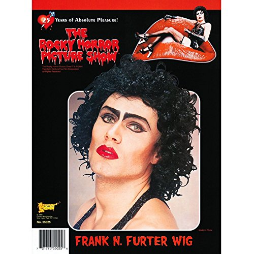 Official Frank N Furter Wig Mens The Rocky Horror Picture Show FrankNFurter Transvestite Fancy Dress Hair Adult Black Accessory by ROCKY HORROR (Dress Rocky Horror)