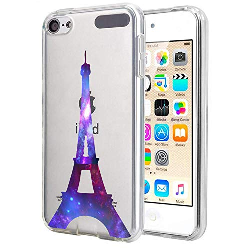Carbon Fiber Ipod Touch Case - Matcase for I pod Touch 6 I pod Touch 5 - Paris Eiffel Tower Galaxy Crystal Clear Transparent Anti Scratch Resistant Shock Absorption Ultra Slim Fit Protective with TPU Bumper Hybrid Designer Case