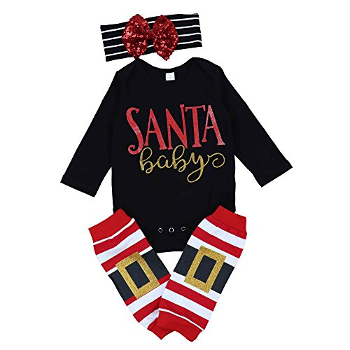 Outfit Santa For Girls (3pcs Baby Girl Cute Long Sleeve Romper Leg Warmers hairband Outfits Christmas)