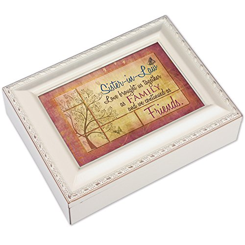 Cottage Garden Sister-in-Law Ivory Finish with Brushed Gold Color Trim Jewelry Music Box Plays You Light Up My Life