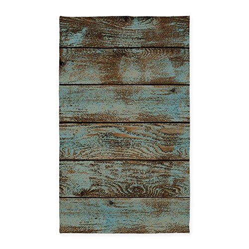 CafePress - Rustic Western Turquoise Barn Wood - Decorative Area Rug, Fabric Throw Rug