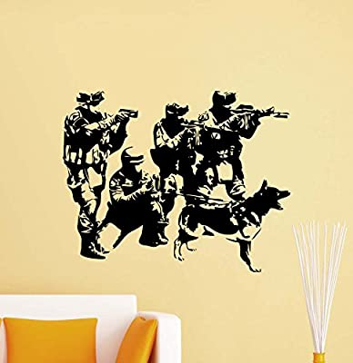 Special Forces Wall Decal Army Soldier K-9 Dog Police Officer Policeman Military Vinyl Sticker Living Room Bohemian Decorations Housewares Home Bedroom Nursery Decor Art Poster Mural Custom Print 736