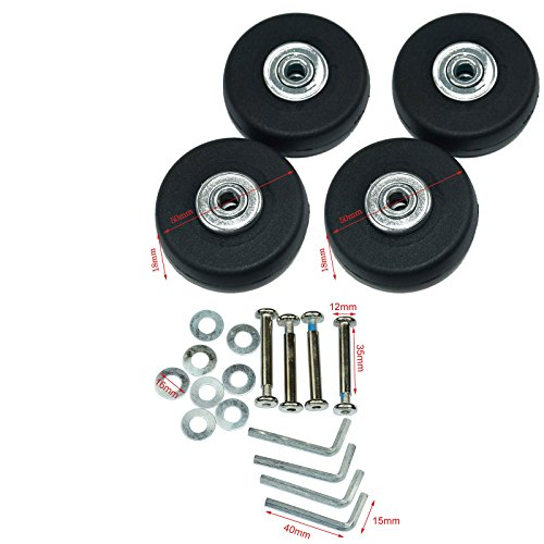 Lovinstar 4Pcs/Set Luggage Suitcase Replacement Wheels OD 50 (1.97'') 18 Axles 35...