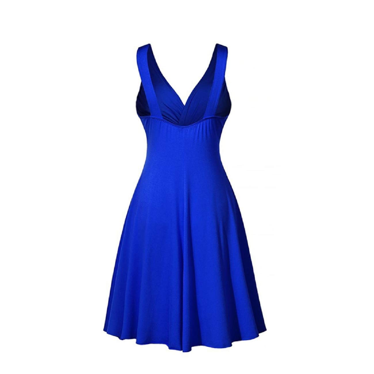 FAPIZI Women Plus Size Dress Vintage V-Neck Sling Leated Slim Flare Skirt Dress Casual Cocktail Skater Mini Short Dress
