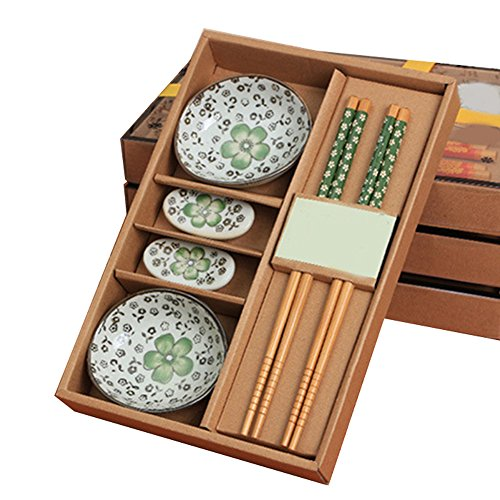 Green Flower Plates Set (Funwill Floral Print.Ceramics Sushi Eating Saucer Set 2-Person 8 Pieces in Gift Box (Green flowers))