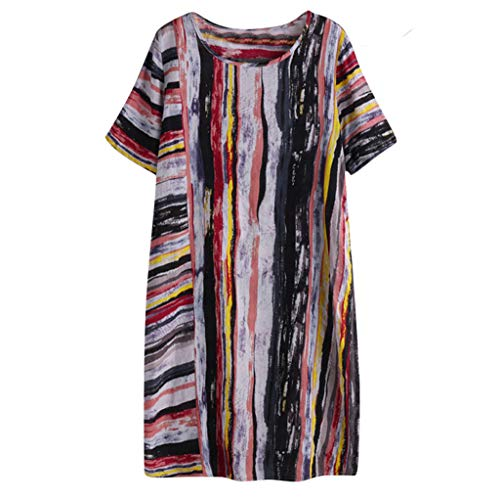 - iHPH7 Mini Dresses for Women Summer T Shirt Crew Neck Tunics Blouse Dresses Casual Plus Size Multicolor Stripe Mini Maxi Dress (L,8- Multicolor)