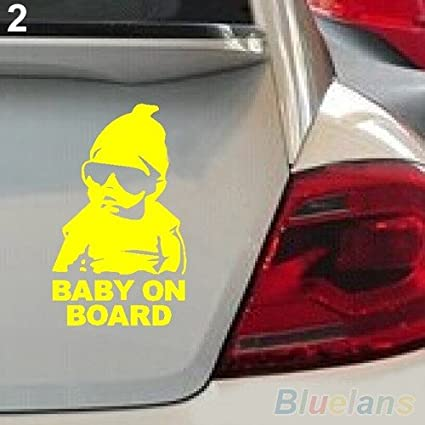 Seen ®Baby on Board vehicle decal sticker The Hangover baby(Yellow)