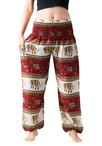 Bangkokpants Women's Casual Pants Harem Bohemian Clothes Hippie Boho Yoga Outfits Smocked Waist (Bohemian Red, One Size)