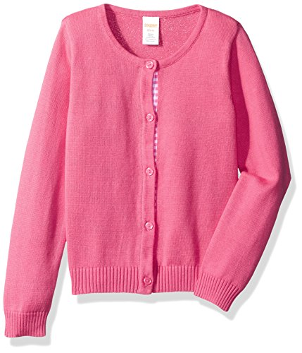 Gymboree Girls' Big Long Sleeve Pinbtn Up Cardi Dot Tape, Babydoll Pink XS (Cardigan Pink Girls Sweater)