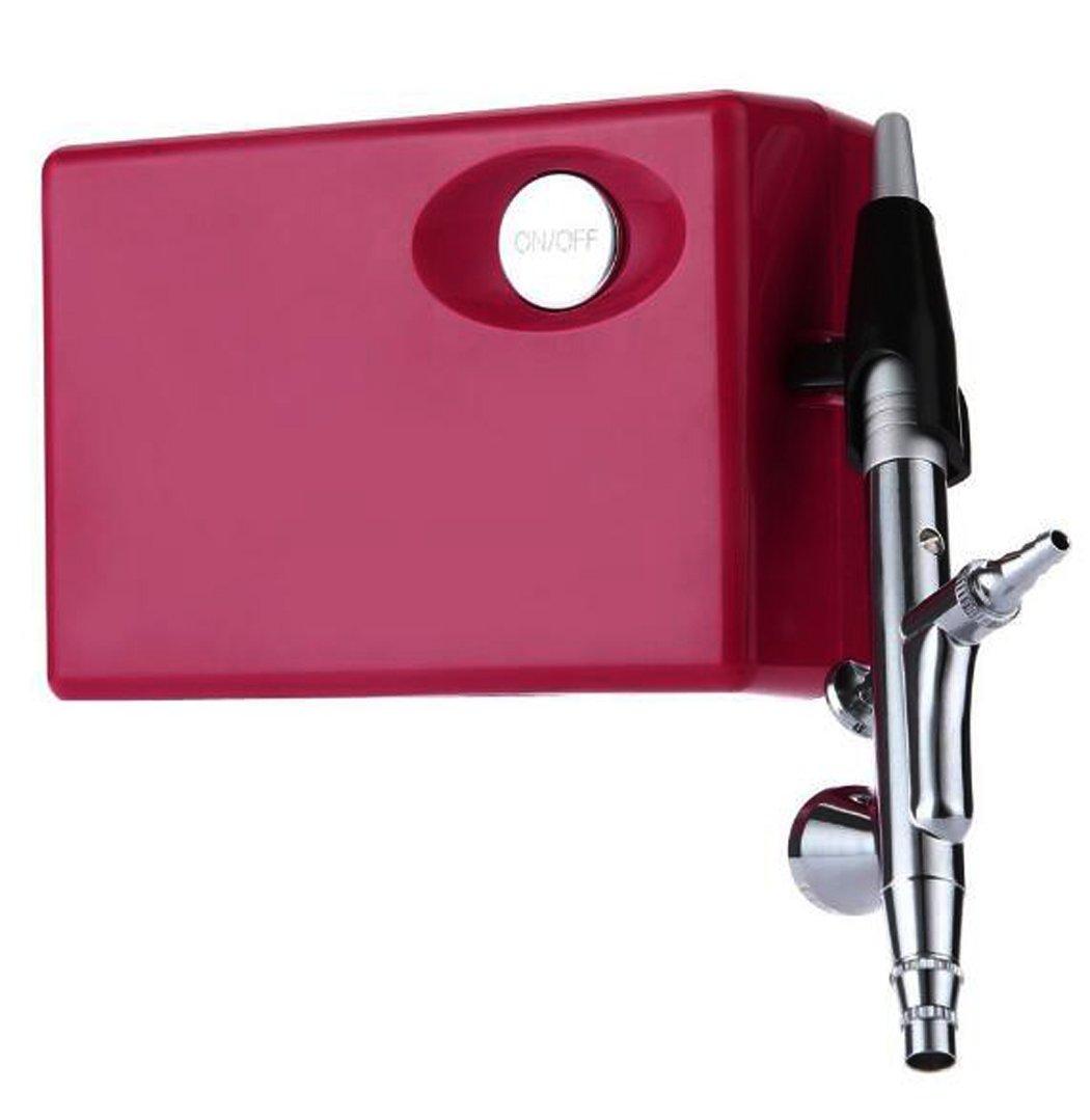 JOYOOO 12V Aerógrafo Profesional Conjunto con el Kit compresor para Arte Pintura Tatuaje Manicura Rociador de Modelo de Craft Cake de maquillaje (Rosado): ...