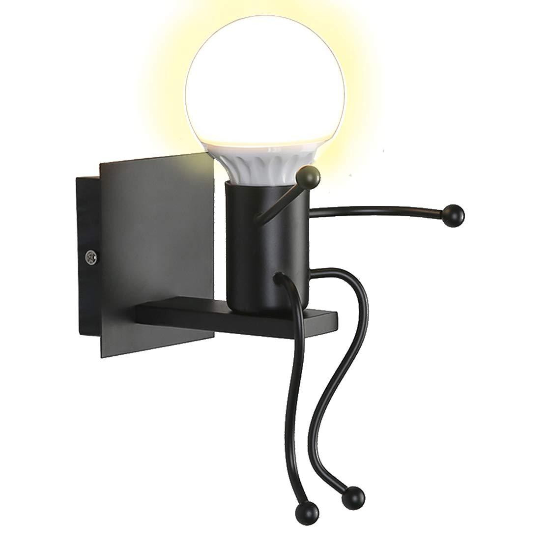 Applique Murale Interieur Créative Mignon Convient Pour Chambre Salon Chevet Cage D'escalier Chambre D'enfant Moderne Décoration Simple LED Lampe Murale 1 × E27 40W (Noir, 1 Pack)