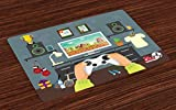 Lunarable Gamer Place Mats Set of 4, Gaming Guy in His Flat with Diplomas Loud Speakers Boxing Gloves Jump Rope and Trophy, Washable Fabric Placemats for Dining Room Kitchen Table Decor, Multicolor