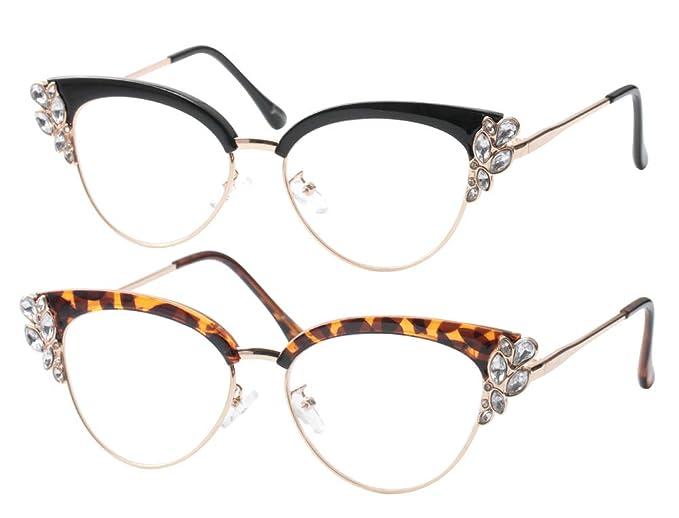 2ef3eceef27f SOOLALA Womens Rhinestones Clubmaster Cateye Reading Glass Eyeglass Frame