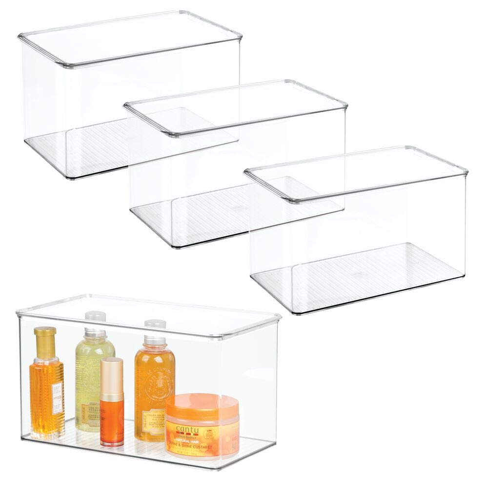 mDesign Stackable Bathroom Storage Bin Box with Lid - Container for Organizing Hand Soaps, Body Wash, Shampoos, Conditioners, Hand Towels, Hair Accessories, Body Spray - 7'' High, 4 Pack - Clear