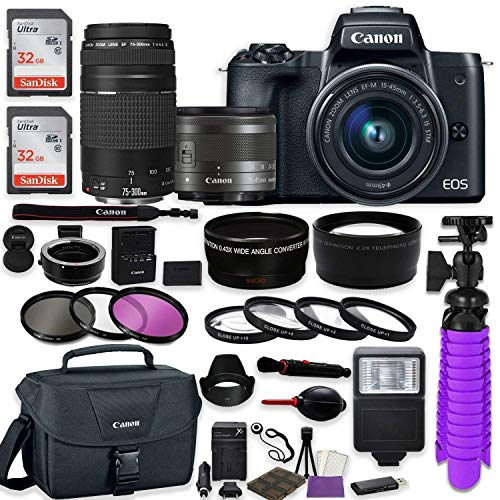 Canon EOS M50 Mirrorless Digital Camera (Black) Bundle w/Canon EF-M 15-45mm is STM & EF 75-300mm f/4-5.6 III Lenses + Auto (EF/EF-S to EF-M) Mount Adapter + Canon Gadget Case + Accessories