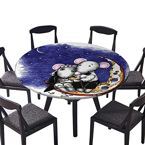 Round Table Tablecloth Mouse Couple Sitting on The Cheese Flavoured Moon Bride and Groom Valentines Wedding Machine Washable 43.5