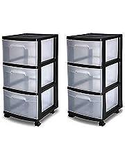 $34 » 3 Drawer Organizer Cart Black Plastic Craft Storage Container Rolling Bin Set 2
