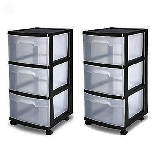 3 Drawer Organizer Cart Black Plastic Craft Storage Container Rolling Bin Set 2 (Storage Containers Drawers)