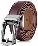 Marino Men's Genuine Leather Ratchet Dress Belt with Open Linxx Buckle, Enclosed in an Elegant Gift Box - Mahogony - Style 37 - Custom: Up to 44'' Waist