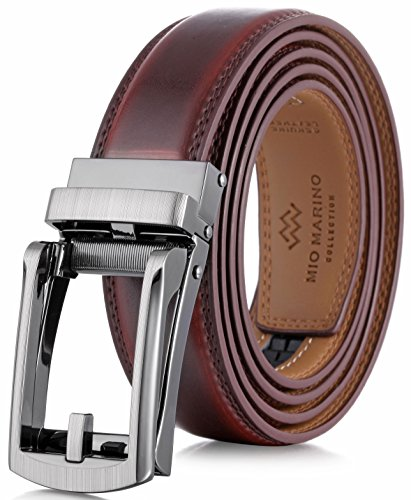 Marino Men's Genuine Leather Ratchet Dress Belt with Open Linxx Buckle, Enclosed in an Elegant Gift Box - Mahogony - Style 37 - Custom: Up to 44