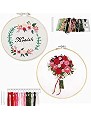 DIY Embroidery Starter Kit, Embroidery Beginner Kits with Plant Flower Pattern Bamboo Embroidery Hoop Color Threads Cross Stitch Kit