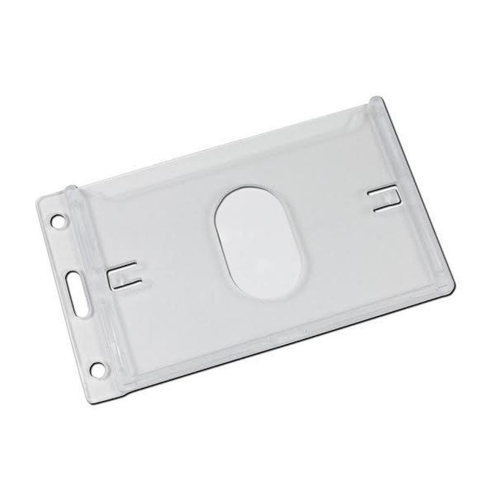 Protector de tarjeta vertical ID Nombre Tarjeta Badge Holder carcasa Clear rígido carcasa Holder de plástico con agujero para pulgar, color transparente e390b5
