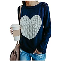 Mygoodie Womens Oversized Casual Cable Knit Crewneck Heart Love Pullover Sweater (Blue, M)