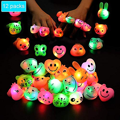 Light Up Rings for Kids Birthday Party Favors LED Flashing Finger Toys Glow in the Dark Party Supplies 18 Pack Bulk Boys Girls Blinking Novelty Cute Gifts Prizes Bumpy Jelly Colorful Rings