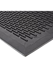 """NoTrax T29 Rubber Ridge Scraper Entrance Mat, for Wet and Dry Areas, 3' Width x 5' Length x 1/4"""" Thickness, Black"""