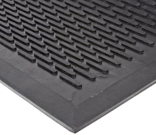 (NoTrax T29 Rubber Ridge Scraper Entrance Mat, for Wet and Dry Areas, 3' Width x 5' Length x 1/4