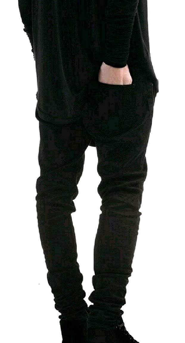 QueenHands Mens Stretch Destroyed Slim Fit Stylish Denim Brushed Pencil Jeans Pants Trousers
