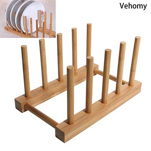 Bamboo Dish Drying Rack, Vehomy Natural Bamboo Dish Rack Fla
